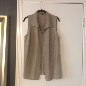 Beige sweater vest with suede back